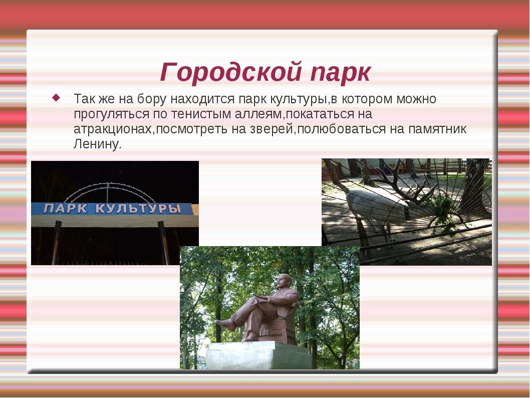 Городской парк Так же на бору находится парк культуры,в котором можно прогуля...