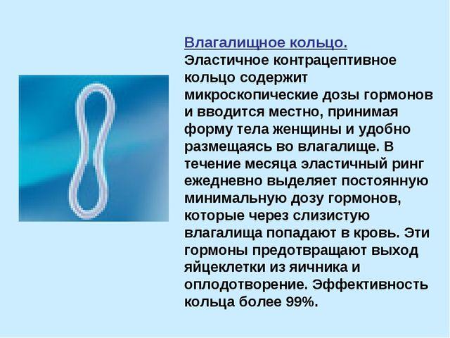 Влагалищное кольцо. Эластичное контрацептивное кольцо содержит микроскопическ...