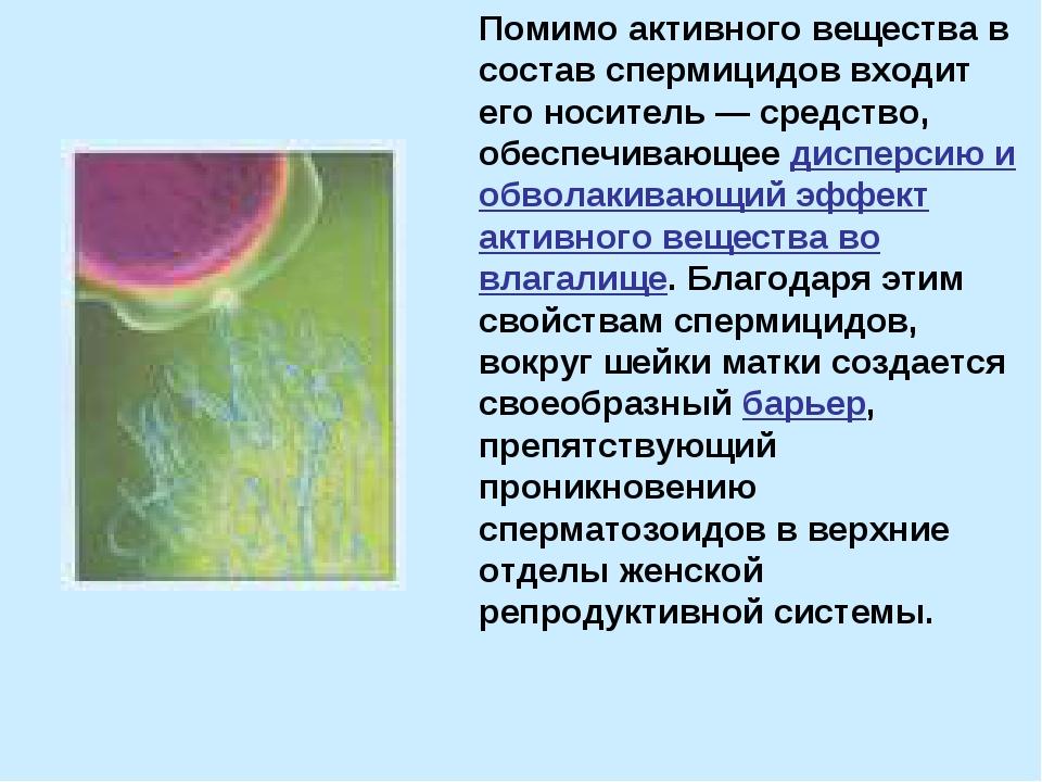 Помимо активного вещества в состав спермицидов входит его носитель — средство...