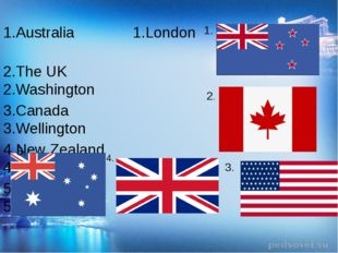 1.Australia 1.London 2.The UK 2.Washington 3.Canada 3.Wellington 4.New Zealan
