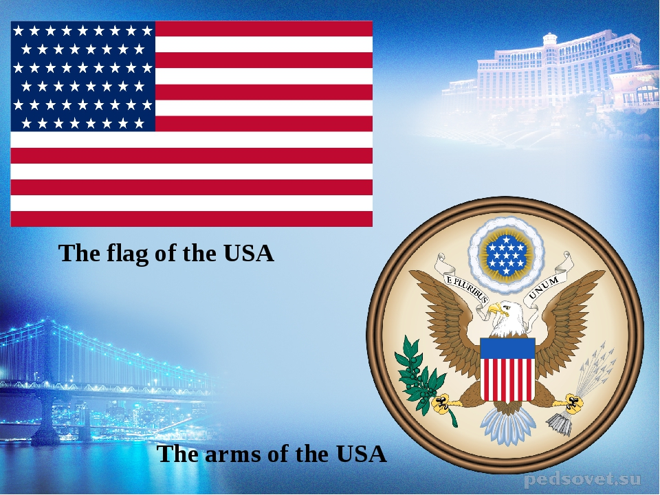 The flag of the USA The arms of the USA