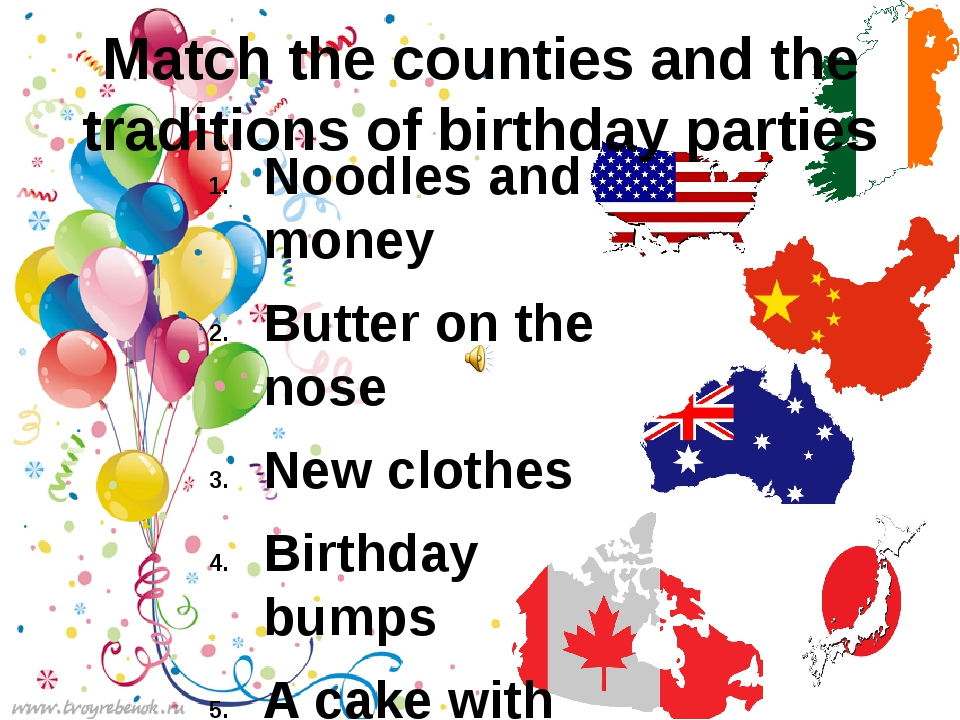 Match the counties and the traditions of birthday parties Noodles and money B...