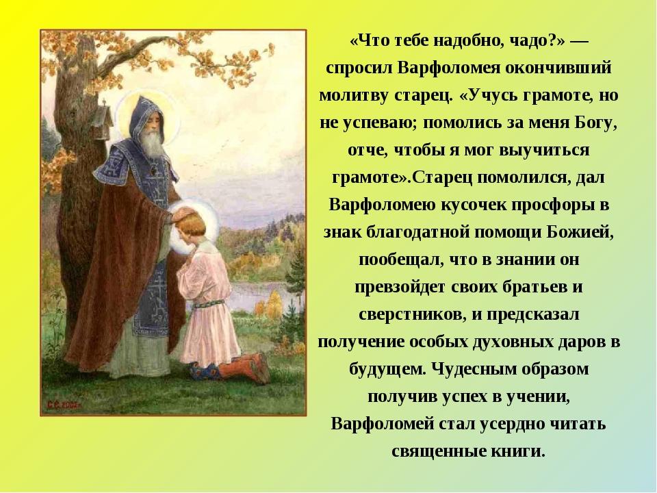 «Что тебе надобно, чадо?» — спросил Варфоломея окончивший молитву старец. «Уч...