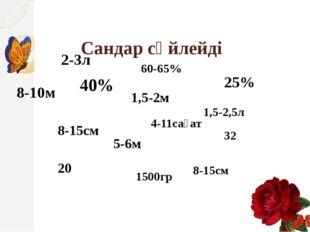 Сандар сөйлейді 8-10м 25% 60-65% 1,5-2,5л 2-3л 40% 8-15см 1,5-2м 5-6м 8-15см