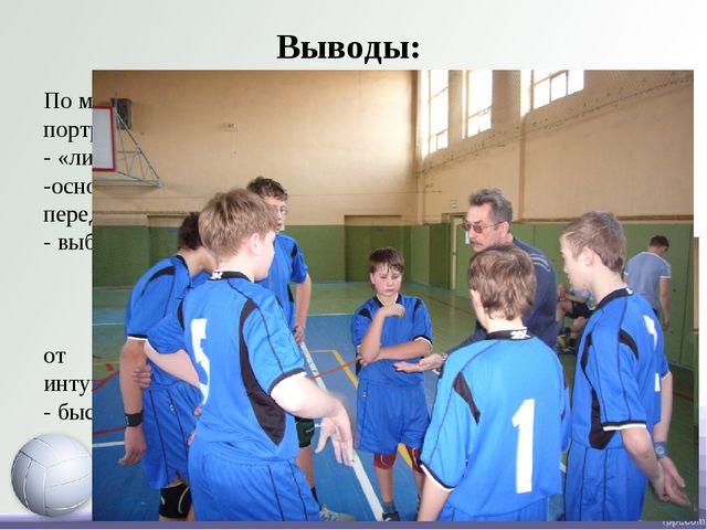 Выводы: По мнению специалистов волейбола сборный игровой портрет волейбольног...