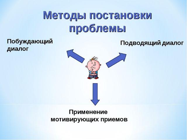 Методы постановки проблемы Побуждающий диалог Подводящий диалог Применение м...
