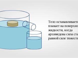 Тело останавливается и плавает на поверхности жидкости, когда архимедова сила