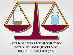 Если тело плавает в жидкости, то вес вытесненной им жидкости равен весу этого