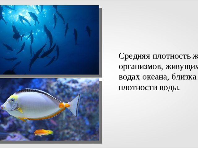 Средняя плотность живых организмов, живущих в водах океана, близка к плотност...