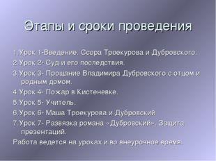 Этапы и сроки проведения 1.Урок 1-Введение. Ссора Троекурова и Дубровского. 2