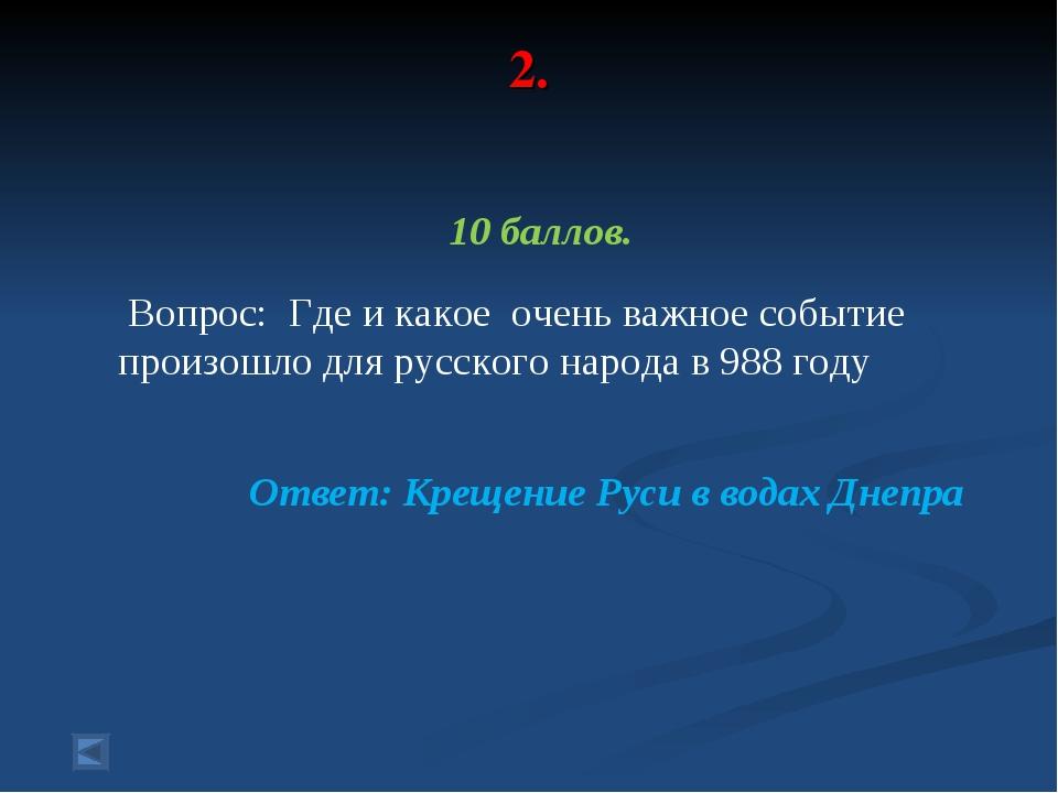 2. 10 баллов. Вопрос: Где и какое очень важное событие произошло для русского...