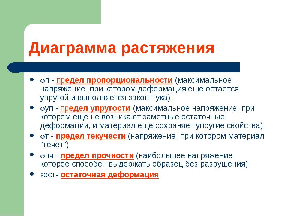 Диаграмма растяжения п - предел пропорциональности (максимальное напряжение,...