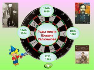 1841-1889 Годы жизни Шокана Уалиханова 1711-1781 1835-1865 1845-1904