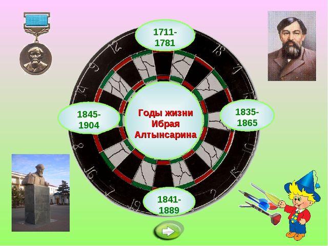 1711-1781 Годы жизни Ибрая Алтынсарина 1841-1889 1835-1865 1845-1904