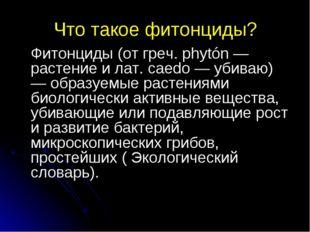 Что такое фитонциды? Фитонциды (от греч. phytón — растение и лат. caedo — уб