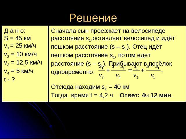Решение Д а н о: S = 45 км v1 = 25 км/ч v2 = 10 км/ч v3 = 12,5 км/ч v4 = 5 км...