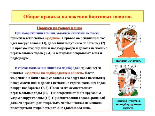 Общие правила наложения бинтовых повязок Повязки на голову и шею При поврежде...