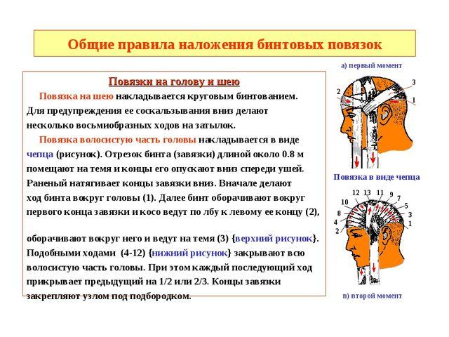 Общие правила наложения бинтовых повязок Повязки на голову и шею Повязка на ш...