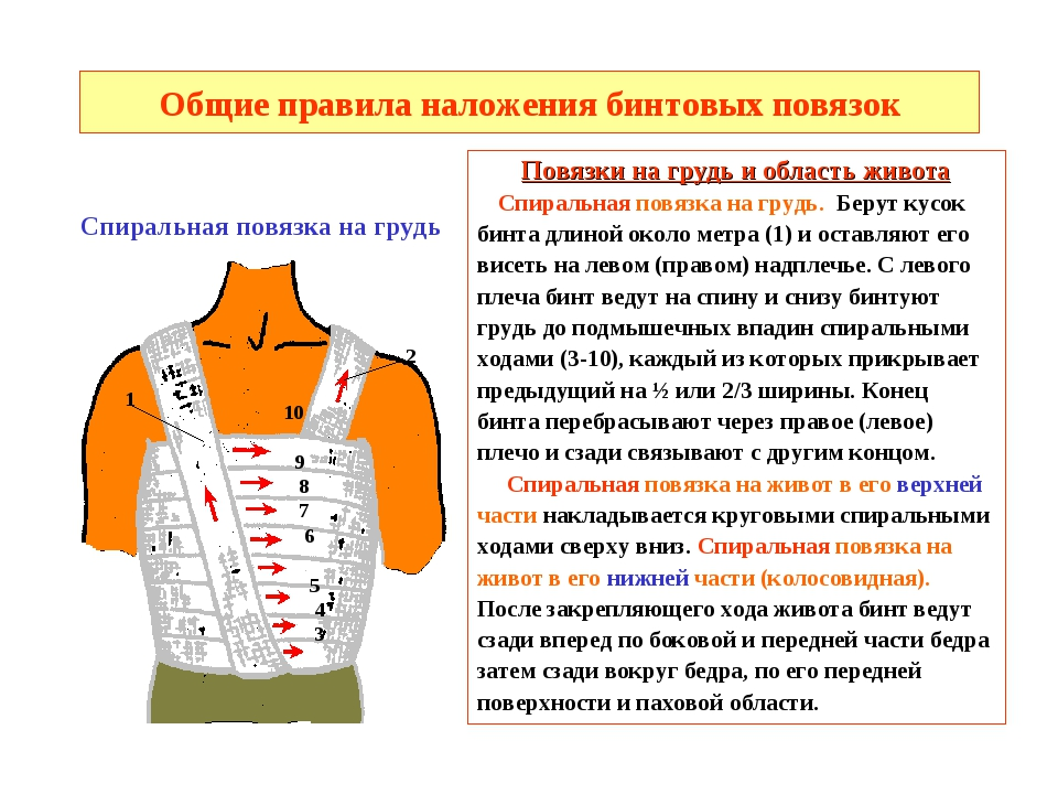 Общие правила наложения бинтовых повязок Повязки на грудь и область живота Сп...