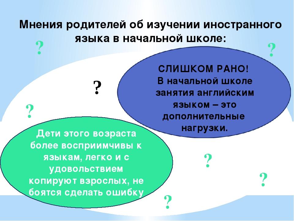 Мнения родителей об изучении иностранного языка в начальной школе: Дети этого...