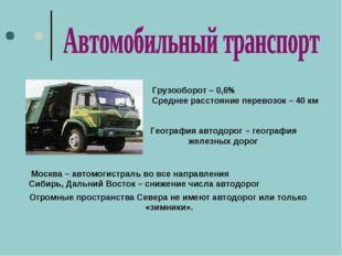 Грузооборот – 0,6% Среднее расстояние перевозок – 40 км География автодорог –