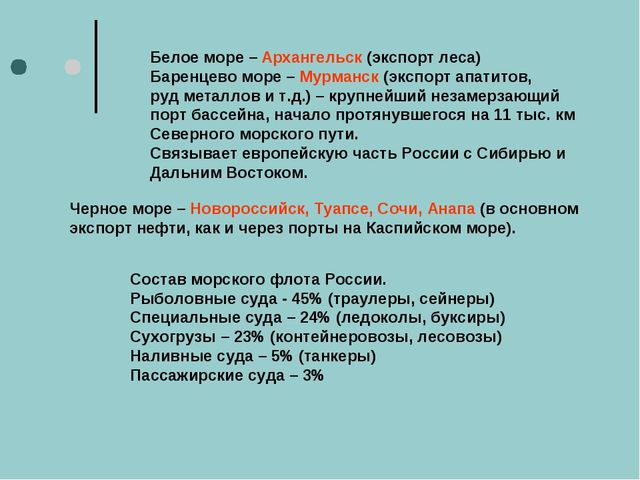 Белое море – Архангельск (экспорт леса) Баренцево море – Мурманск (экспорт ап...