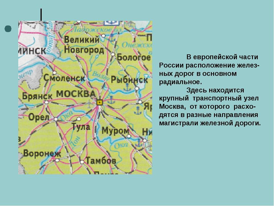 В европейской части России расположение желез-ных дорог в основном радиально...