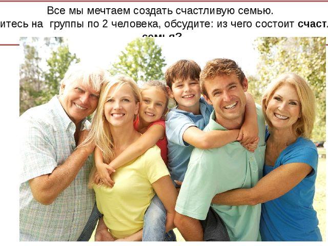 Все мы мечтаем создать счастливую семью. Разделитесь на группы по 2 человека...