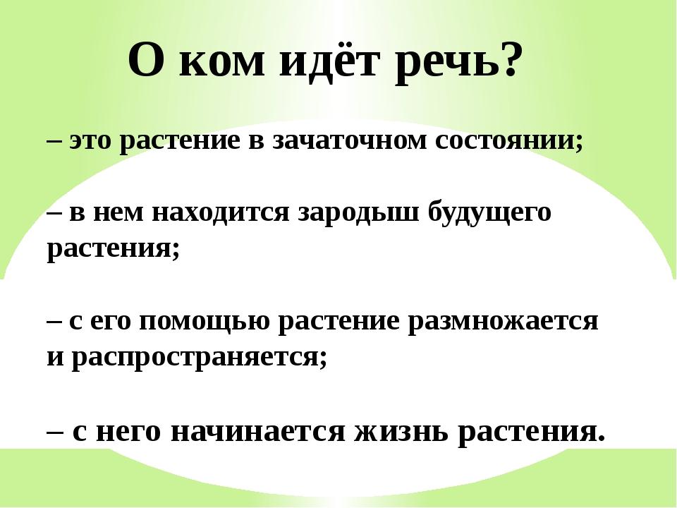 О ком идёт речь? –это растение в зачаточном состоянии; –в нем находится зар...