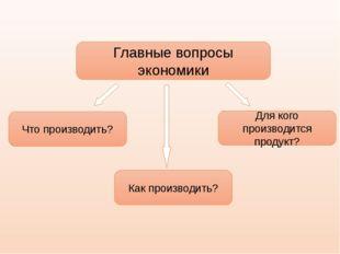 Главные вопросы экономики Что производить? Как производить? Для кого производ