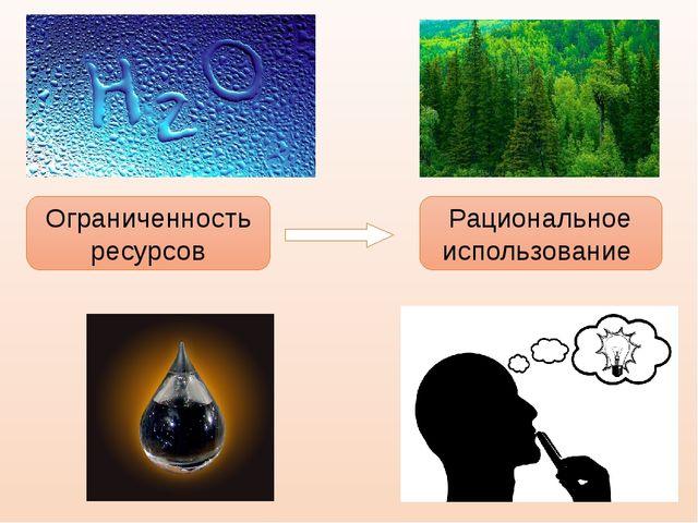 Ограниченность ресурсов Рациональное использование