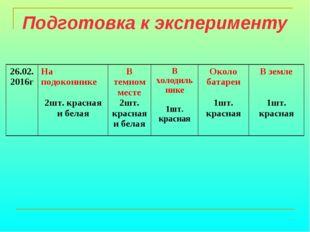 Подготовка к эксперименту 26.02. 2016гНа подоконнике 2шт. красная и белаяВ