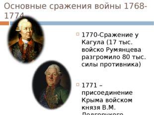 Основные сражения войны 1768-1774 1770-Сражение у Кагула (17 тыс. войско Румя