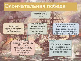 Окончательная победа Летом 1791 года Разгром Турецкой армии на Балканах Турци