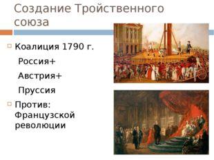 Создание Тройственного союза Коалиция 1790 г. Россия+ Австрия+ Пруссия Против