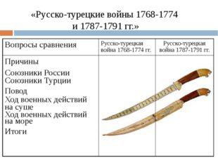 «Русско-турецкие войны 1768-1774 и 1787-1791 гг.» Вопросы сравнения Русско-ту