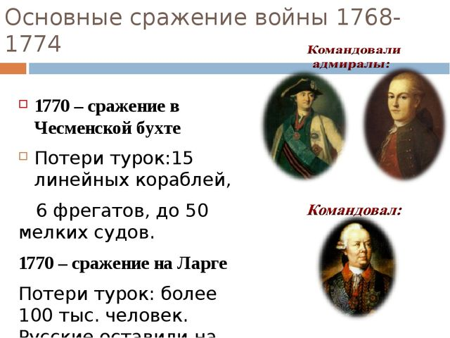 Основные сражение войны 1768-1774 1770 – сражение в Чесменской бухте Потери т...