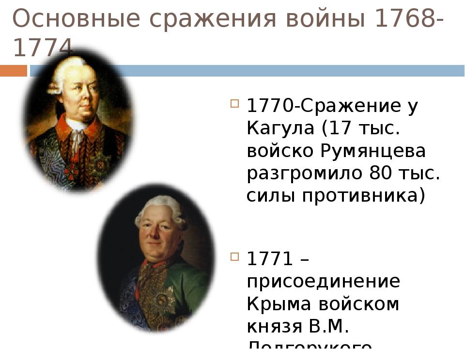 Основные сражения войны 1768-1774 1770-Сражение у Кагула (17 тыс. войско Румя...
