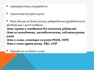 Характеристика микрорайона; Социальный паспорт школы; Банк данных на детей (