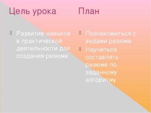 Цель урока План Развитие навыков в практической деятельности для создания рез