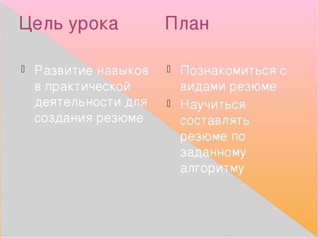 Цель урока План Развитие навыков в практической деятельности для создания рез...