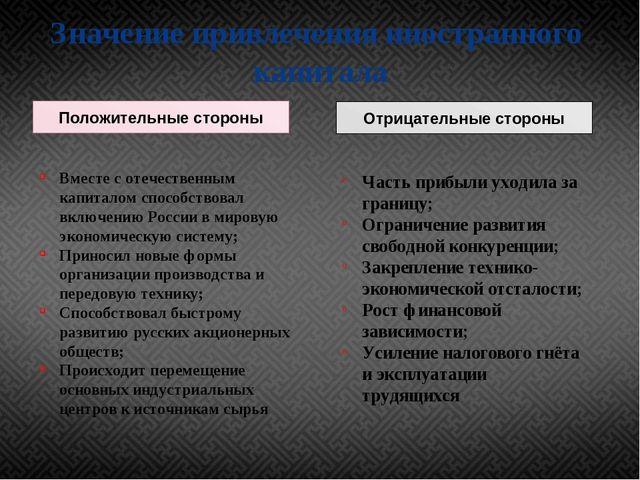 Значение привлечения иностранного капитала Положительные стороны Вместе с оте...