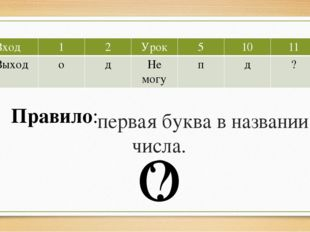 первая буква в названии числа. О ? Правило: Вход 1 2 Урок 5 10 11 Выход о д