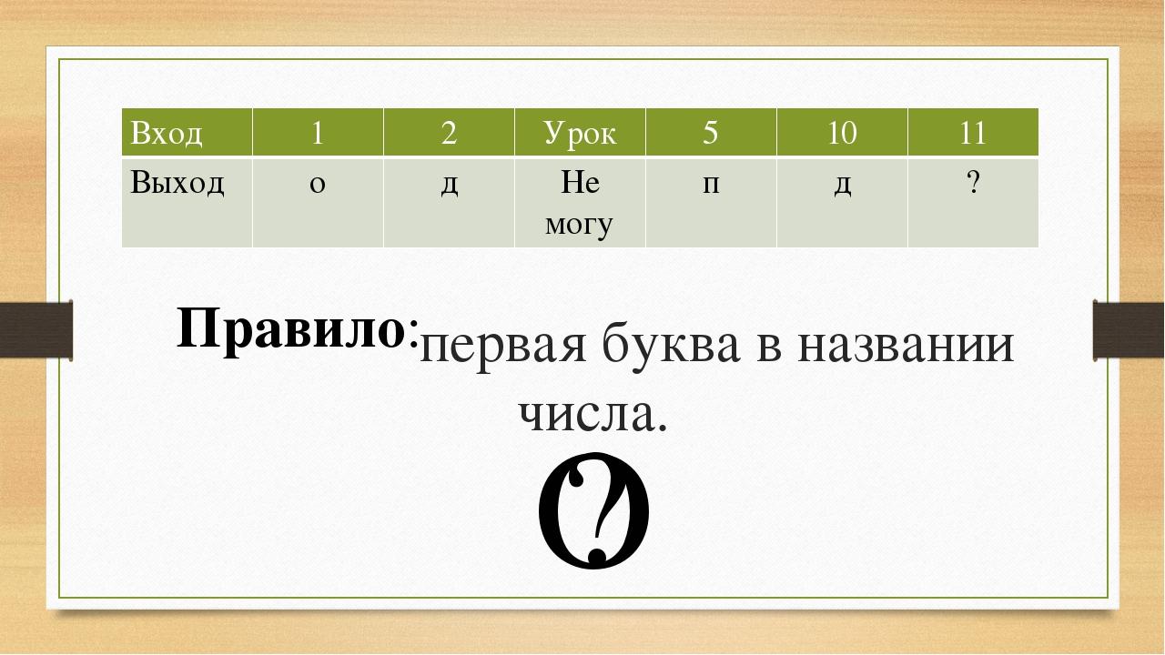 первая буква в названии числа. О ? Правило: Вход 1 2 Урок 5 10 11 Выход о д...