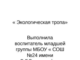 « Экологическая тропа» Выполнила воспитатель младшей группы МБОУ « СОШ №24 им