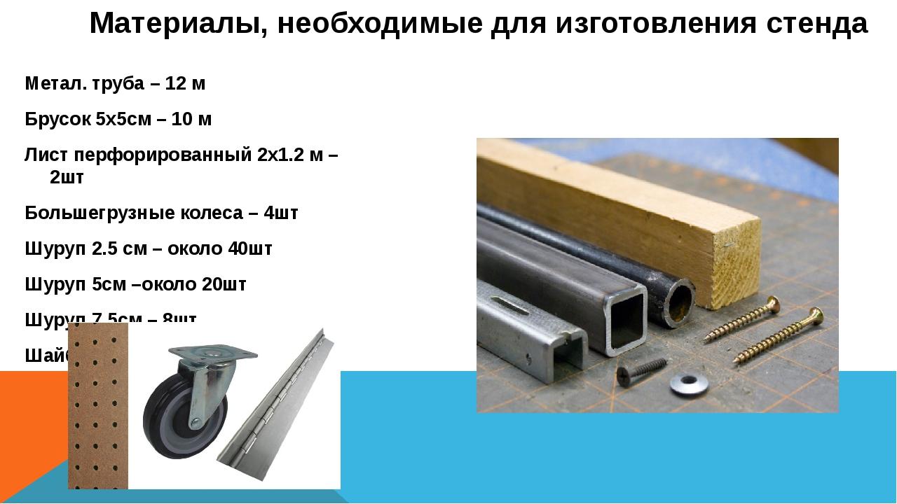 Метал. труба – 12 м Брусок 5х5см – 10 м Лист перфорированный 2х1.2 м – 2шт Бо...