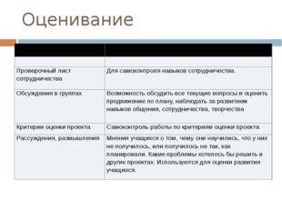 Оценивание Оценивание Цель и процесс оценивания Проверочный лист сотрудничест