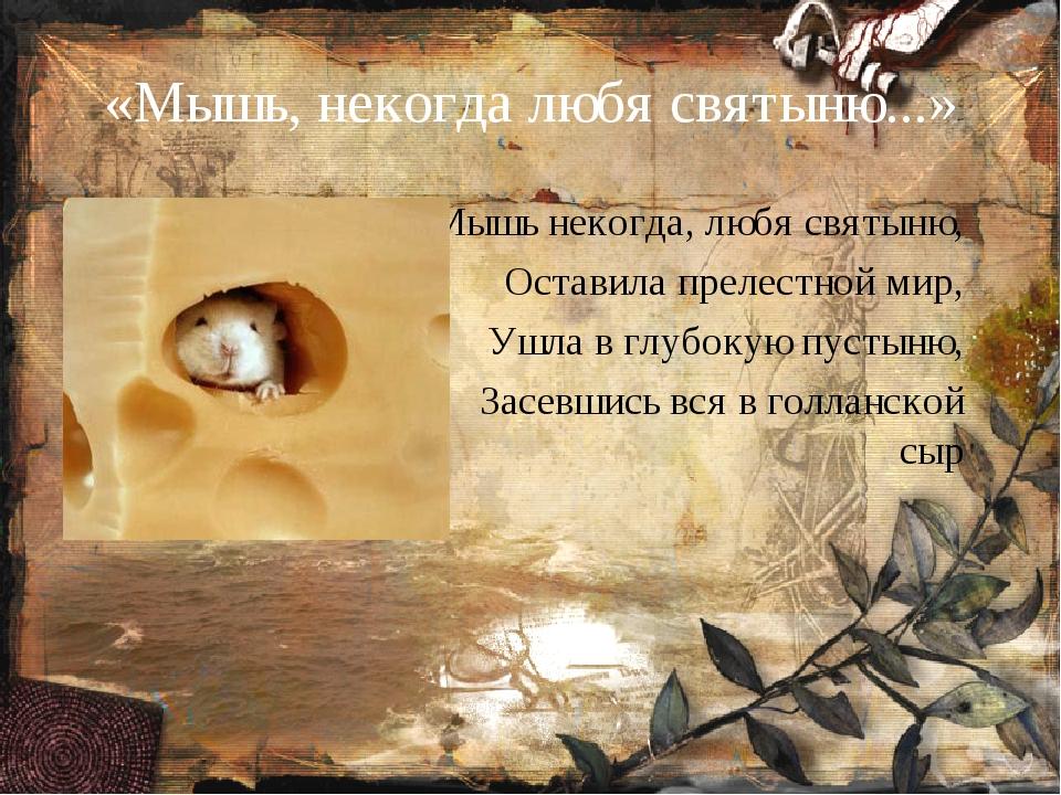 «Мышь, некогда любя святыню...» Мышь некогда, любя святыню, Оставила прелестн...