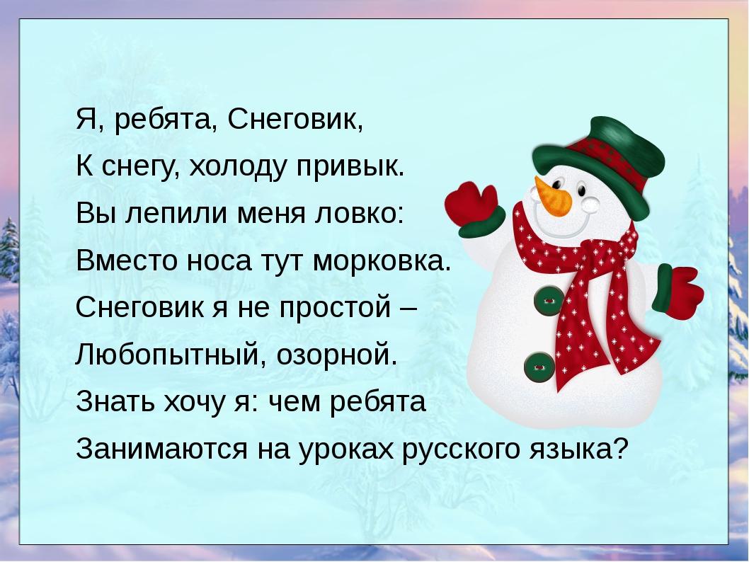 Я, ребята, Снеговик, К снегу, холоду привык. Вы лепили меня ловко: Вместо нос...