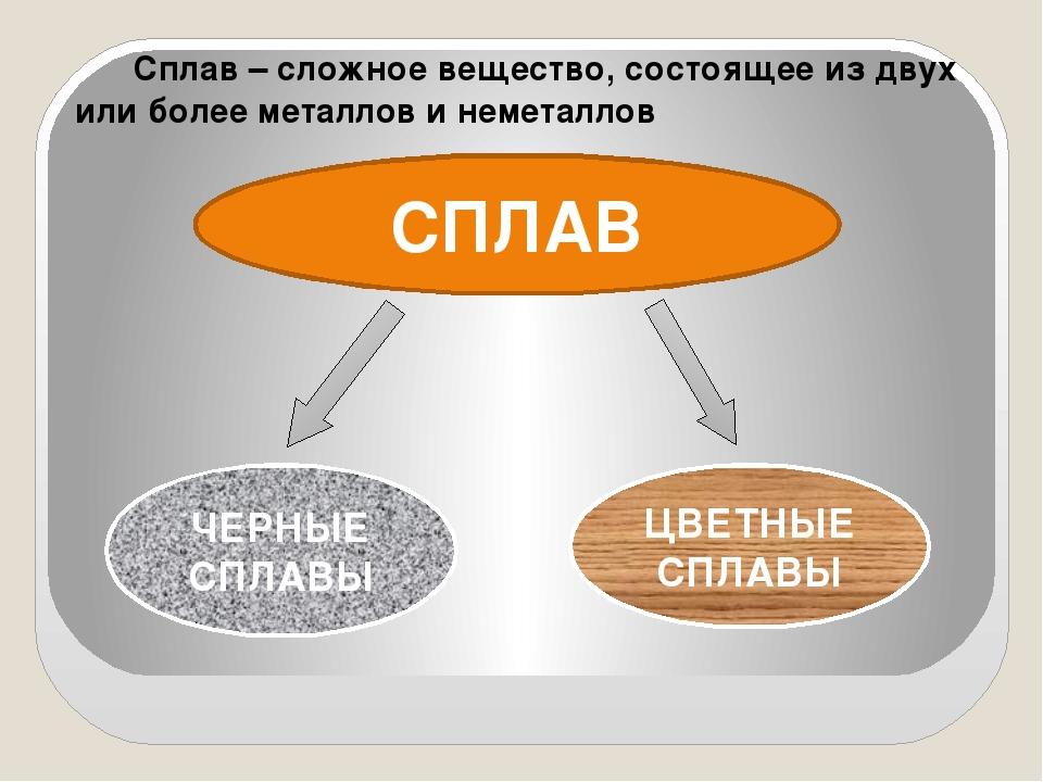 СПЛАВ Сплав – сложное вещество, состоящее из двух или более металлов и немета...